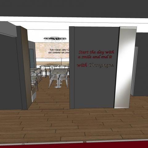Hôtel Les Bulles de Paris presents its breakfast room.