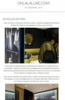 Hôtel les Bulles de Paris - Presse